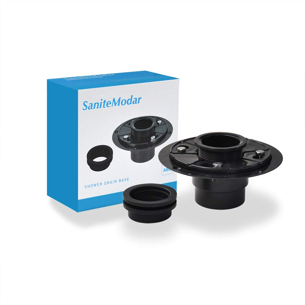 SaniteModar 2-in ABS Shower Drain Base can be used with any Size of Square and Linear Floor Shower Drain,It is Equipped with Threaded Joints and Rubber Joints