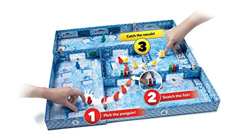 ICECOOL - A Fast & Fun Penguin Flicking Board Game (BGP5168), Age 6 and up, 2-4 Players, 20 Min Play Time, Award Winning Family Game by Brain Games, First Flicking Game with Pieces that Curve & Jump