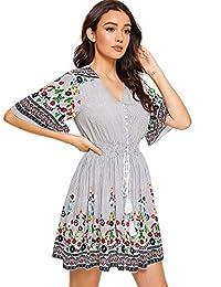 Milumia Vestido de Fiesta Bohemio con Botones y Estampado Floral, para Mujer, Multicolor-16, XS