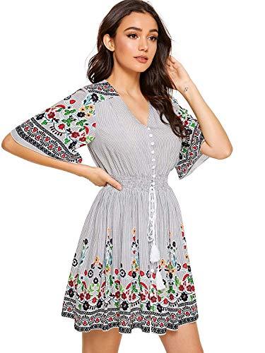Milumia Women's Boho Button Up Split Floral Print Flowy Party Dress Multicolor-16 S
