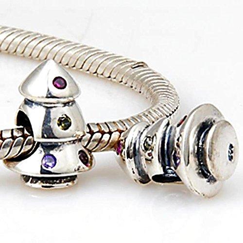 Strass Arbre de Noël en argent sterling 925massif Charms Perles pour Bracelets style Pandora