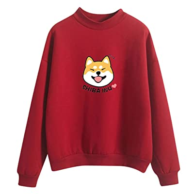 MoonHome Women Cute Long Sleeve Top Loose Shiba Inu Husky Crewneck Pullover Graphic Casual Sweatshirt Tops at Women's Clothing store