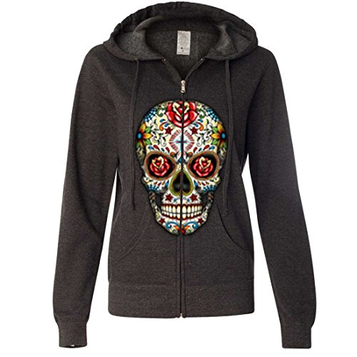 Dia De Los Muertos Sugar Skull Ladies Zip-Up Hoodie - Charcoal Heather -