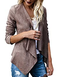 Lightweight Jackets Faux Suede Short Jacket Biker Coat Lapels Tops