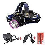 Minsk 5000LM CREE XM-L XML T6 LED 3-Modes Design Headlamp Headlight Outdoor Sport Head Lamp Head LED Light Torch waterproof include 4200mAh 2 x 18650 Batteries Rechargeable Charger and Car Charger