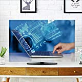 Analisahome Television Protector Notebook Computer with Future Technology Media Symbols Television Protector W36 x H60 INCH/TV 65''