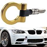 Dewhel JDM Aluminum Track Racing Front Rear Bumper Car Accessories Auto Trailer Ring Eye Towing Tow Hook Kit Screw On For BMW 1 3 5 Series X5 X6 E36 E39 E46 E82 E90 E91 E92 E93 E70 E71 MINI Cooper (Gold)