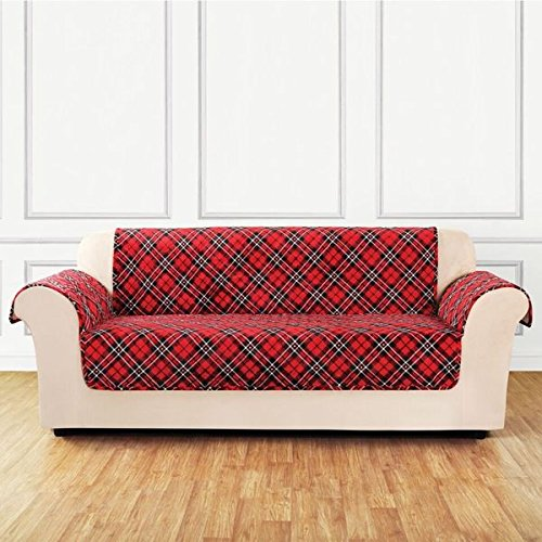 Sure Fit Holiday Tartan Plaid Sofa Furniture Cover 157211120G_SOFA