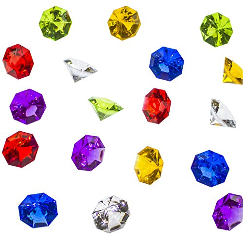 Super Z Outlet Acrylic Colorful Round Treasure Gemstones for Table Scatter, Vase Fillers, Event, Wedding, Arts & Crafts, Birthday Decorations Favor (36 Pieces) (Assorted) ()