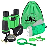 6Pcs Adventure Set for Kids, Children Binocular, Hand Crank Flashlight, Mini Compass, Magnifying Glass, Whistle, and Drawstring Backpack, Exploration Toy Kit for Outside Nature Play