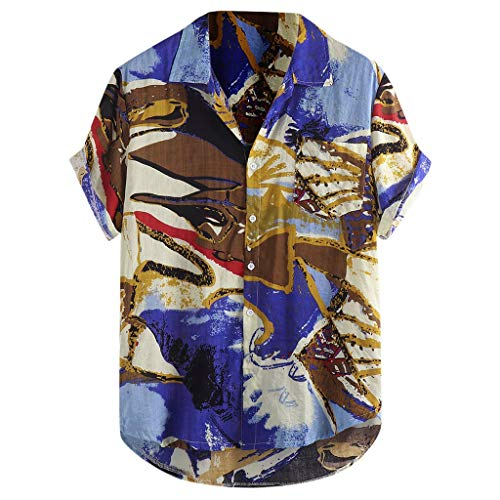 OrchidAmor 2019 Mens Summer Printed Chest Pocket Turn Down Collar Short Sleeve Loose Shirt Blue