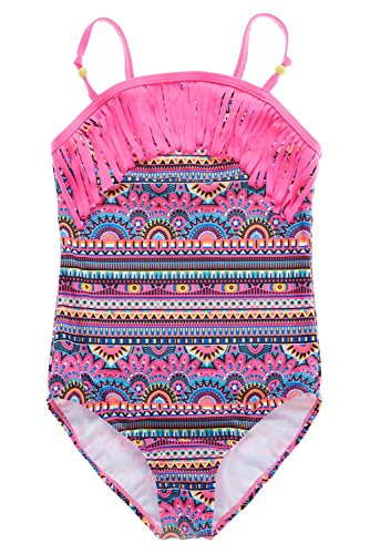 Vegatos Girls One Piece Swimsuit Tribal Print Bathing Suit Tessel String Swimwear