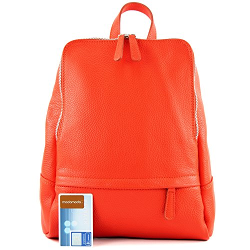 Ladies Bag Signal Citybag Backpack Leather Orange T138 de Rucksack ital Leather modamoda Backpack AqT0xZIPw