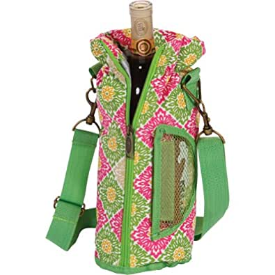 Picnic Plus Wine Bottle Insulated Pouch with Opener - Green Gazebo