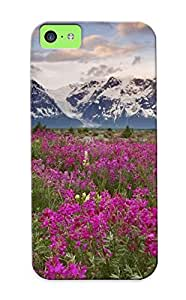 Design For Iphone 5c Premium Tpu Case Cover Nature Landscapes Meadow Valley Plants Flowers Mountains Peaks Sky Clouds Protective Case
