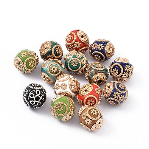 den Round Handmade Indonesia Beads with Floral Capped Ends Colorful with Alloy Cores for Jewelry Makings ()
