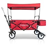 WonderFold Outdoor NEW GENERATION Collapsible Folding Wagon with Canopy - Premium Features: Auto Safety Locks, Spring Bounce, One Pedal Brake, Stand, EVA Wide Tire (Ruby Red)