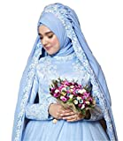 Dreammade Women's Muslim Lace Applique Satin Tulle Wedding Bridal Dress (Hijab)