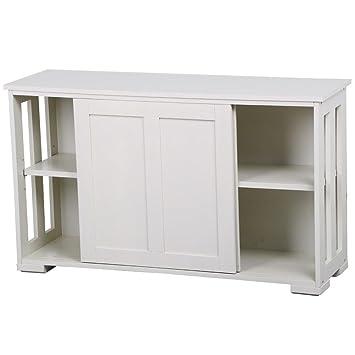 Amazon Yaheetech Antique White Buffet Cabinet Kitchen Table