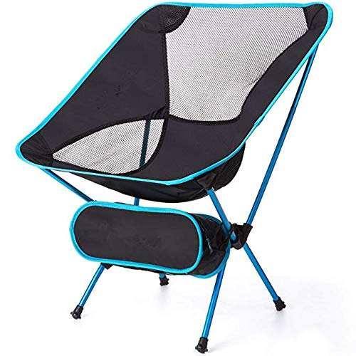 Folding Portable Camping Chair, Sports Outdoor Chair Ultralight Backpacking Chair Compact &Heavy Duty 300lb Capacity for Hiking Fishing Festival BBQ Picnic Beach Camp with TerraGrip Feet (Blue)