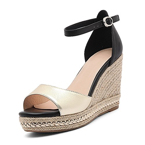 AJ-scheda di pelle spessa impermeabile sandali tacchi le scarpe e una cannuccia.,eu40,golden