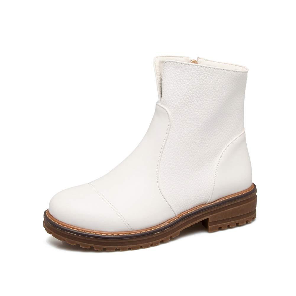 Damenstiefeletten, Herbst Winter Warm Halten Leder Chelsea Stiefel Damen Flach Lässig Bequeme Weiche Unterseite Mode Stiefel