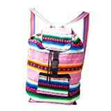 Handmade Lightweight, Water Resistant Washable Unisex Day Bag with Extra Storage Pockets for -Gym, Travel, Beach, Backpack, School, Hiking, Carry-on Luggage (Pink and multicolor)