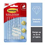 Command 17026CLR Decoration Clips for Christmas and Fairy Light - Clear with Prep Pads for Quick and Easy Applica