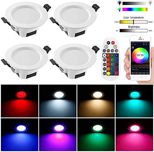 LED Recessed Downlights with Remote Controller, 4 Pack 9W 4 Inch Retrofit Bluetooth Mesh App Control LED Recessed…