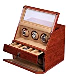 KAIHE-BOX Classic Watch Winders for 6+5 Watches for automatic Watch Winder Rotator Case Cover Storage , brown