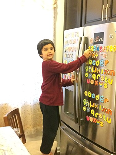 JUMBO Magnetic Letters and Numbers- Alphabet Number Fridge Magnet - 26 Upper Case ABC, 26 Lower Case abc, Numbers 123, Arithmetic Piece -Total 66 Letter Kid Education Fun Toy Set ()