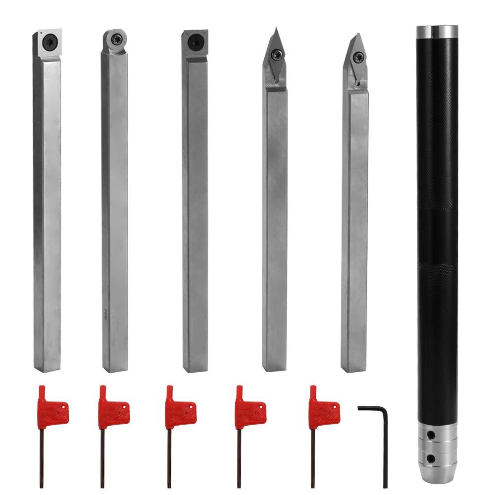 Baugger Set di Utensili per Utensili in Metallo Duro Tipo 6 Utensile per Tornitura in Legno Tornio in Acciaio Legato Utensile per Tornitura in Metallo Duro Utensile per la Lavorazione del Legno