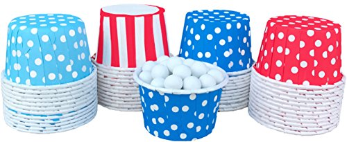 Dr. Seuss Themed Candy Nut Mini Baking Paper Treat Cups - Red White Sky Blue - Stripe Polka Dot - 48 Pack ()