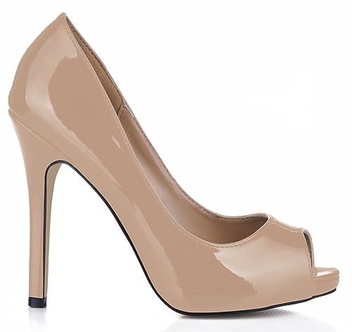 635ef45d9 CHMILE Chau-Zapatos para Mujer-Bombas de Tacon Alto de Aguja-Sexy-Vestido  de Fiesta-Punta Abierta-Plataforma 1cm