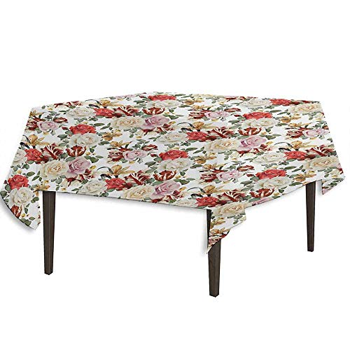 kangkaishi Rose Printed Tablecloth Bridal Feminine Arrangement Soulful Spring Flora Stems Pattern Botanical Garden Nature Outdoor and Indoor use W36.2 x L36.2 Inch Multicolor