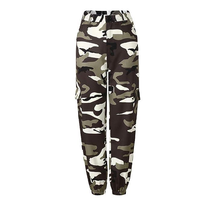 Inlefen Pantalones Casuales de Mujer Pantalones Sueltos de Camuflaje Pantalones Harem Pantalones Baile Hip Hop Moda Ocio Deportes al Aire Libre Mujer ...