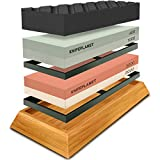 Knife Sharpening Stone Set - 400/1000 and 3000/8000-Grit Professional, Safe Knife Sharpener Set - Whetstone Set Includes Flattening Stone, Bamboo Base, and 2 Nonslip Rubber Bases by KnifePlanet: more info