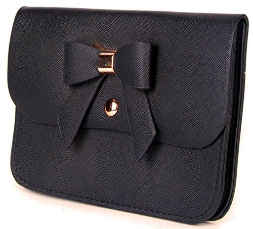 elegante Clutch Schleife Damentasche Gallantry Paris Schwarz lange Kette