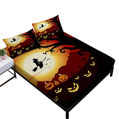 (Rhap Sheets Twin Size, Cartoon Halloween Printed Twin Size Bed Sheets Set of 3 Pieces, Yellow Jack-o'-Lantern Halloween Decor Twin Size Fitted Sheet Set)