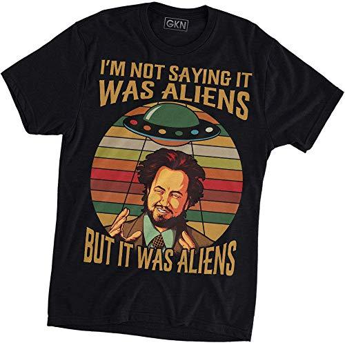 Alien Black T-shirt - I'm Not Saying It was Aliens Vintage Retro T-Shirt Black
