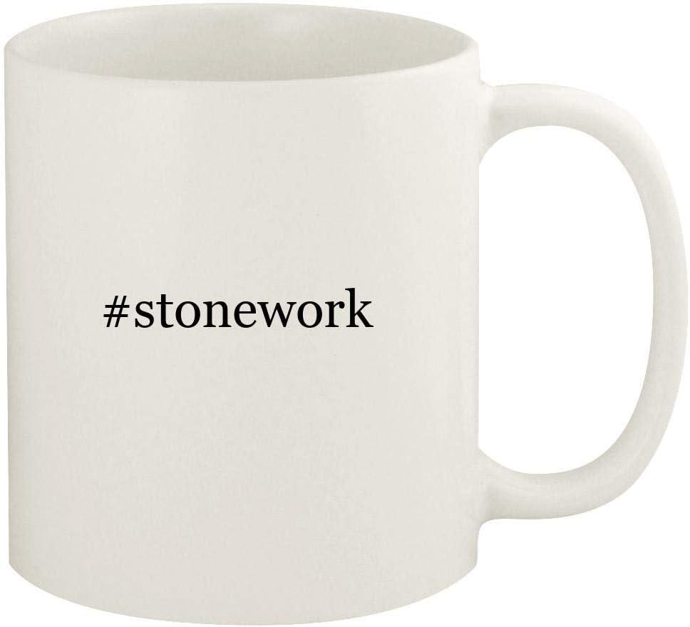 #stonework - 11oz Hashtag Ceramic White Coffee Mug Cup, White