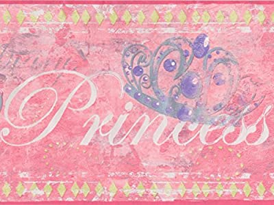 Faux Painted Princess Silver Crown Red Wallpaper Border for Kids, Roll 15' x 7''