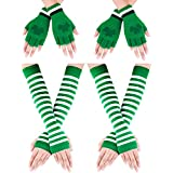 Boao Fingerless Shamrock Gloves Green Mittens and Long Striped Arm Warmers for St. Patrick's Day Costume Party Accessory, 4 Pairs