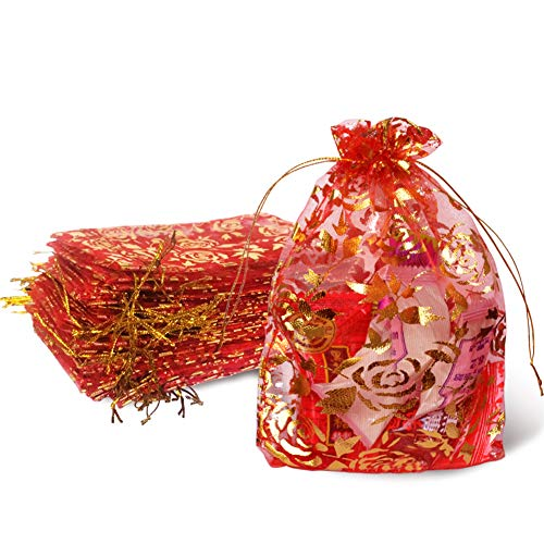 (Red Organza Bags 4x6 inch Pack of 50 Candy Bags with Drawstring Golden Rose Party Wedding Favor Gift Bags)