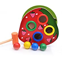 Yeefant Classic Wooden Games, Educational Wooden Hammering Ball with Hammer Box Color Cognitive Toy for Toddlers Child Leisure Table Game