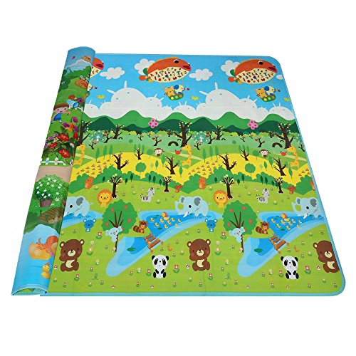 Etuoji Thick Double Sided Toddler Play Mat Kids Foam Non Toxic Playmat Mambobaby with Multi Pattern Shipped from US (Forest and Zoo) (Double Sided Baby Mat)
