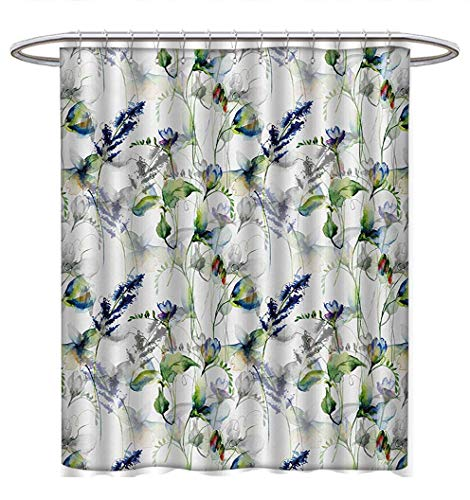 (Anhuthree Flower Shower Curtains Digital Printing Floral Pattern with Sweet Pea Blossoms in Watercolor Paint Effect Spring Theme Custom Made Shower Curtain W69 x L75 Green White)