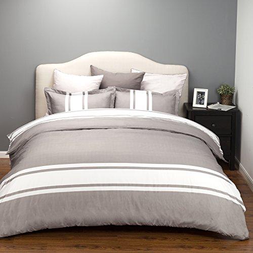 Single Stripe Multi (Bedsure Duvet Cover Set with Zipper Closure-Grey/White Stripe Design,Full/Queen(90