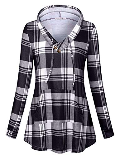 Misheep Womens Plus Size Hoodies, Long Sleeve V Neck Blouse Kangaroo Pocket Cute Fashion Activewear Flowy Blouse Plaid Hoodie Prime Aesthetic Feminine Casual Henley Shirt Clothing Black 2XL
