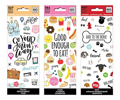 (me & My Big Ideas The Happy Planner Tiny Sticker Pad Value Pack: Travel, Food, Bad to The Bone (Pets).Set of)